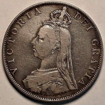 1887 Great Britain Silver Double Florin KM# 763 XF - TX