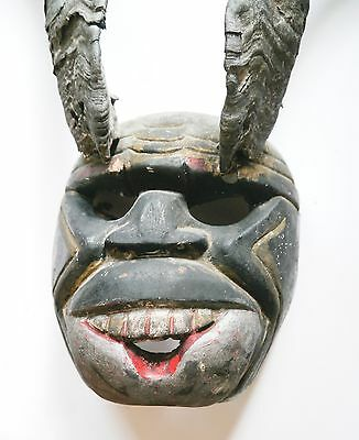 Hand Carved Mexican Diablo Mask Real Long Horns Devil Black Oaxaca Guatemala