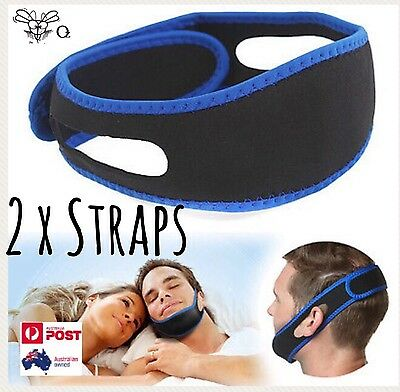 2 Anti Snore Device Jaw Brace Stop Snoring Solution Chin Support Strap in Black