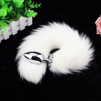 Sex Toy Funny Love White Faux Fox Tail Butt Anal Plug Sexy Romance Games Toys