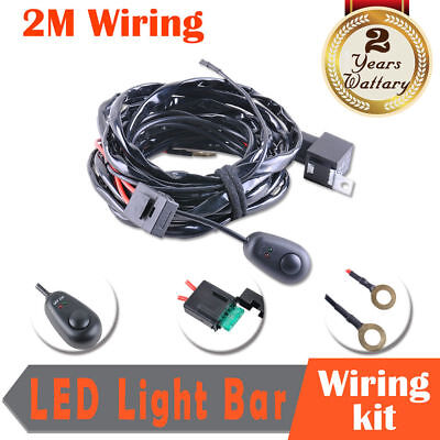 LED Work Light Bar Wiring HID Driving Loom Harness Switch Relay Kit 12V 40A 2M