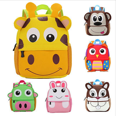 Kids Backpack School Bag 3D Cartoon Animal Children Boy Girl Toddler Rucksack UK