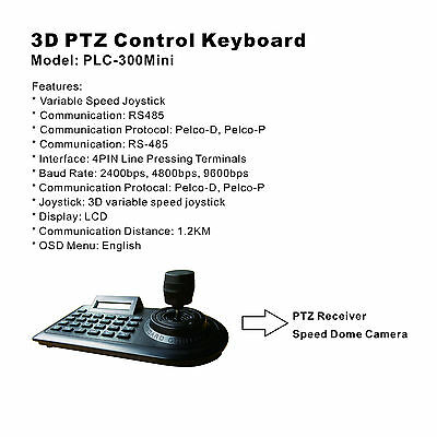 3D PTZ Control Keyboard /RS485/Pelco-D/Pelco-P/Speed Dome Camera/CCTV Security