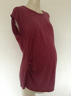 [355] New Look Maternity Pink linen blend Short Sleeved Top Size 12