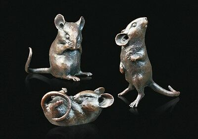Three Little Mice Solid Bronze Foundry Cast Sculptures by Michael Simpson [775]