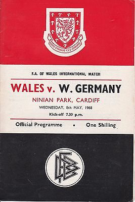 Wales V West Germany ~ International Friendly ~ 8 May 1968 ~  At  Cardiff