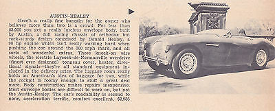1956 Austin-Healey  ~  Smaller Original New Car Preview Article / Ad