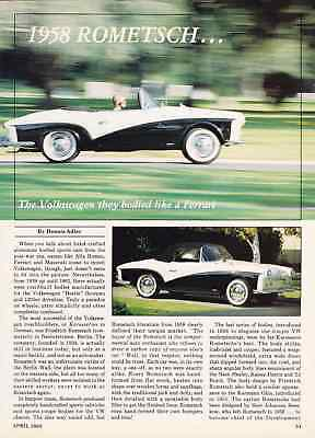 1958 Rometsche  ~  Nice 3-Pg Article / Photos / Ad