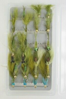 X24 Damsel Nymphs, Top Quality Assorted Fly Fishing Flies, Size 10-12, With Box.
