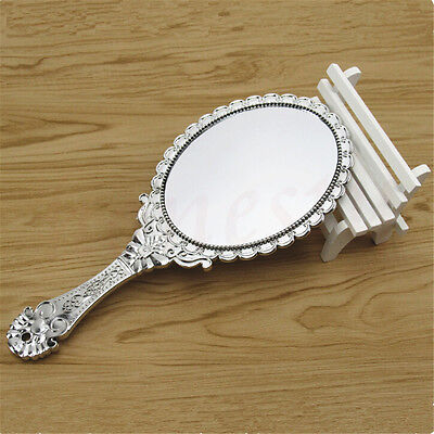Vintage Repousse Oval Round Makeup Hand Held Vanity Mirror Princess Lady
