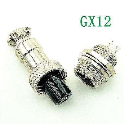 Aviation Plug GX12-3 3pin 12mm Male & Female panel Metal Connector