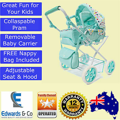 Girls Pretend Doll Pram Stroller Deluxe Baby Carriage Play c& Bag