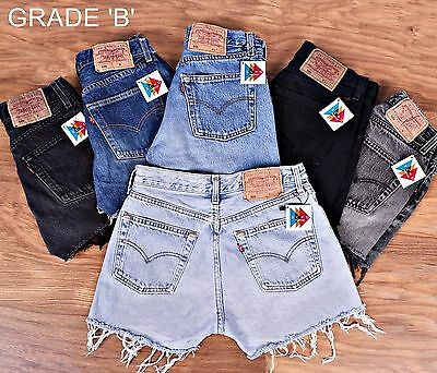 Vintage Levis Shorts Womens Grade B High Waisted Denim Hotpants 6 8 10 12 14 16