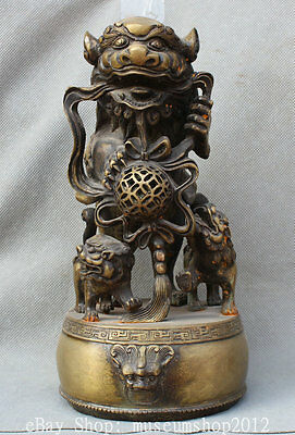 "11"" Old Chinese Copper Lion Foo Dog Beast Son On Drum Play Ball Statue Sculpture"