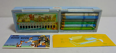 MELODY VTG 80's MINI PIANO IN BLUE 8'' MUSICAL PENCIL CASE w PENCILS & SONG BOOK