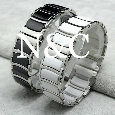 20mm Black Ceramic With Stainless Steel Watchbands Wrist Strap Link Bracelet