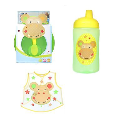 First Steps Jungle Pals Weaning Set with Sipper Cup, Bowl, Spoon & Bib BPA Free
