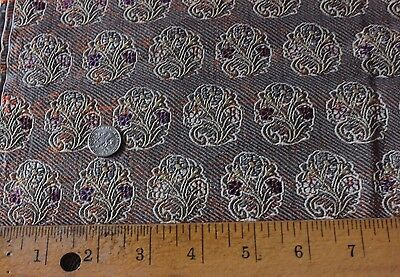 Antique Persian 19thC Silk & Silver Metallic Brocade Handloomed Textile Fabric