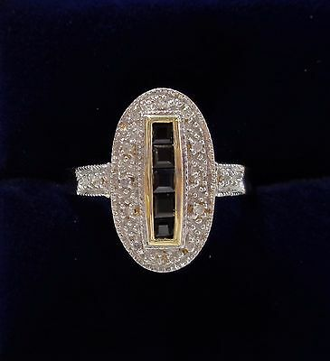 Sapphire and diamond cluster ring in 9ct yellow gold with Art Deco Style