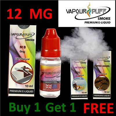 NEW VAPOUR PUFF E-Liquid FLAVOURS 12MG 10ML Vape Pen Refill E-Cig E-Juice Oil UK