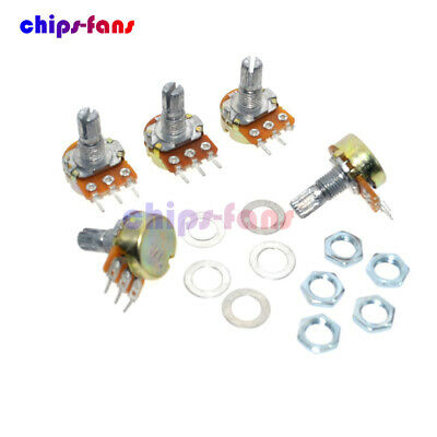 5PCS B20K OHM Linear Taper Rotary Potentiometer 15MM Shaft 3 Pin with Nuts UK
