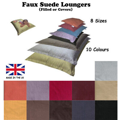Faux Suede Beanbag / Cushion / Lounger - Polystyrene Beans Included - MADE IN UK