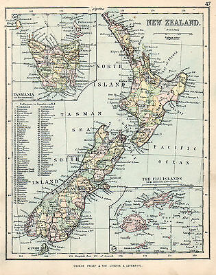 Map of New Zealand Inset Fiji and Tasmania 1896  Original Antique