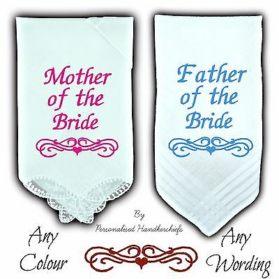 Set 2 Mother & Father Of The Bride Wedding Personalised Handkerchief Butterfly
