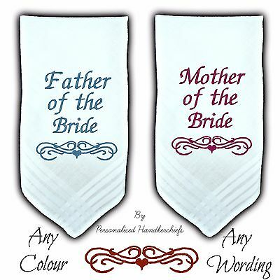 Set 2 Mother & Father Of The Bride Wedding Personalised Handkerchief Hankie Gift