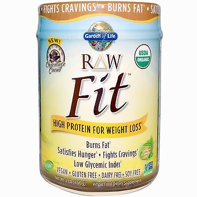 High Protein for Weight Loss - 1lb (450g) Raw Fit Chocolate by Garden of Life