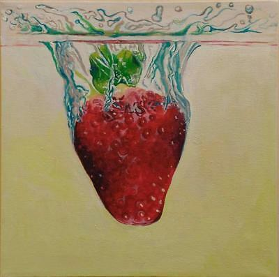 Plunging Strawberry Fruit Limited Edition Print Of Original Painting Realism