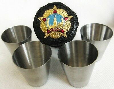 Russian USSR Vodka Shot Glasses Set of 4 x 25 ml in a Case with Metal Badge