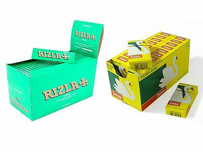 600 Rizla Green Reg Rolling Papers and 600 Swan Extra Slim Filter Tips - Combi