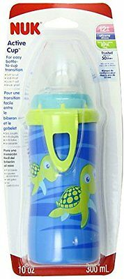 Blue Turtle Silicone Spout Active Cup Baby Feeding Dishes BPA Free 10-Ounce New