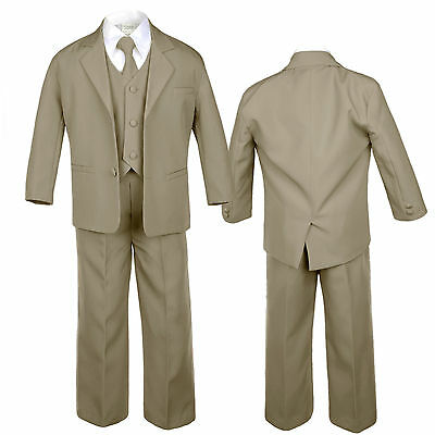 5pc Dark Khaki Baby Toddler Teen Boys Wedding Formal Necktie Tuxedo Suits S-20