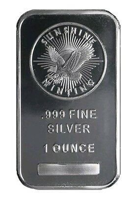 1 Troy oz Sunshine Mint .999 Fine Silver Security Bar Mint Mark SI (Sealed)
