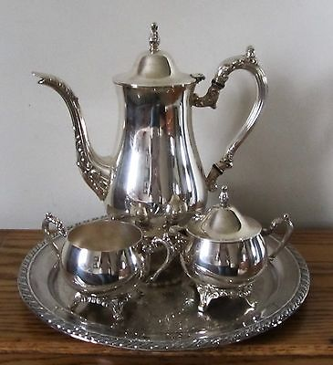 Oneida Footed Silver Plated Coffee / Tea Set including Tray