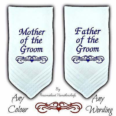 Set 2 Mother & Father Of The Groom Wedding Personalised Handkerchief Hankie Gift