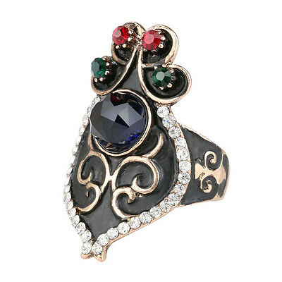 Unique dark sapphire ring with rhinestones hot women ring jewelry gift for her