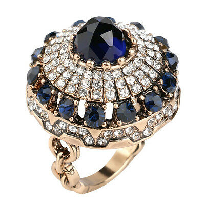 Luxurious dome sapphire ring with cubic zirconia women ring jewelry gift for her