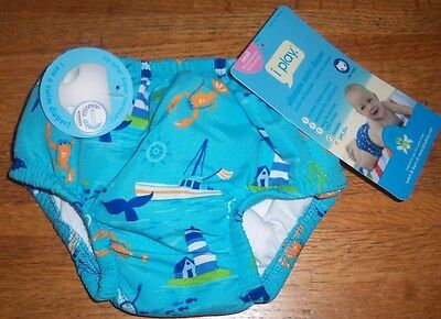 I Play Baby Boy's Ultimate Snap Swim Diaper Baby Blue Lighthouse Theme 3-6 mos