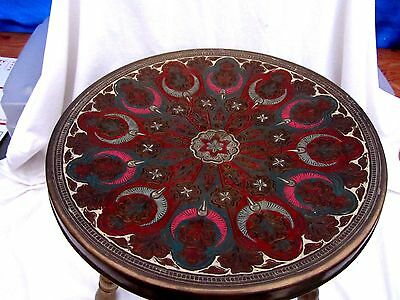 Antique Vintage Moroccan  Brass & Enamel Etched Painted Foot Warmer Stool
