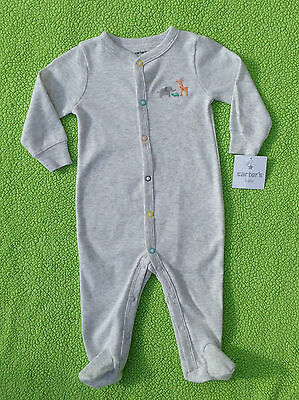 Unisex Clothes : NWT Carters Long Sleeve JUNGLE ANIMAL Button Footed Pajamas 6M