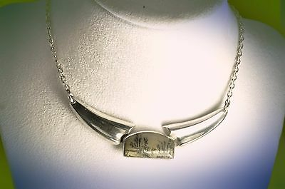 gorgeous  vintage sterling silver necklace with stunning pendent