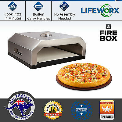 Pizza Maker Oven Firebox BBQ Portable Stainless Steel Camping Gas Charcoal