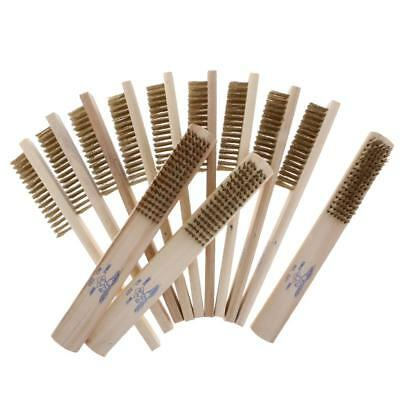 12Pcs Wood Copper Steel Wire Brushes Cleaning Paint Rust Tool Metal Brush
