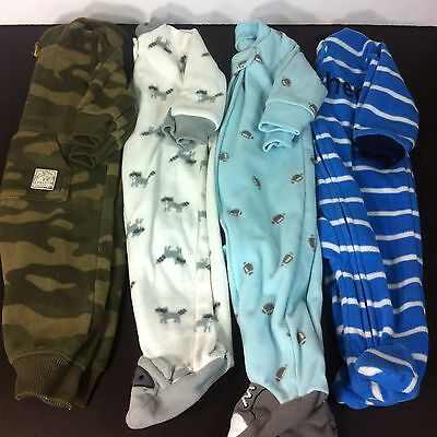 Lot Of 4 Carters Baby Boy Fleece Sleeper Pajamas Size 3 Months Footed Zipper