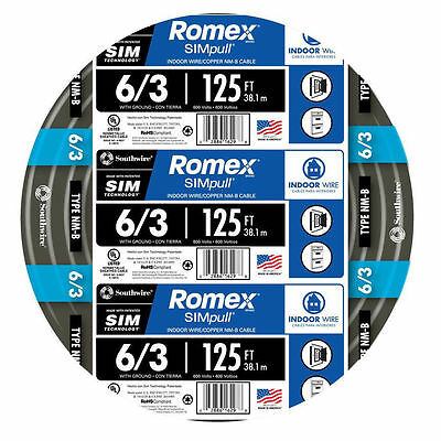 Southwire Romex 6-3 AWG Non Metallic Cable Copper Wire 125' By the Roll 63950002