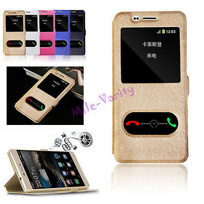 Luxury Magnetic Flip PU Leather Stand View Window Case Cover for Samsung iPhone