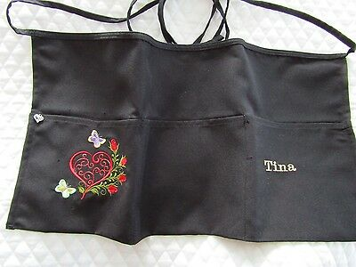 Waitress Waist Apron Black Server Embroider Heart Butterfly Rose Name FREE